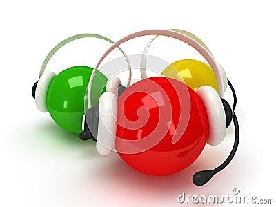 Orbes coloreados con las auriculares sobre blanco