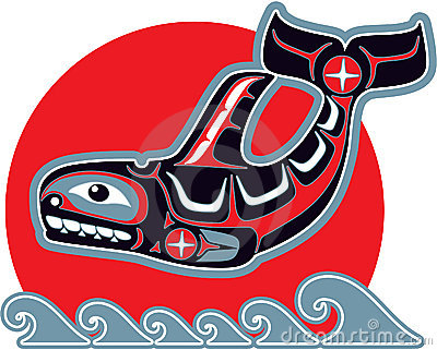 Orca (Killer Whale) in American Native Art Style
