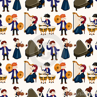 Orchestra music player seamless pattern