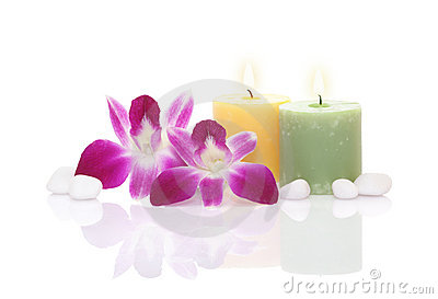 Orchid, Candle and Pebble