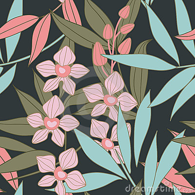 Free Orchid - Floral Seamless Pattern Royalty Free Stock Photo - 13496105