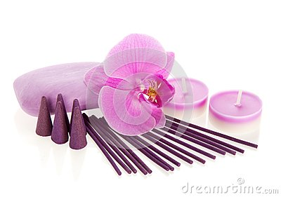 Orchid flower, aromatic set and the soap