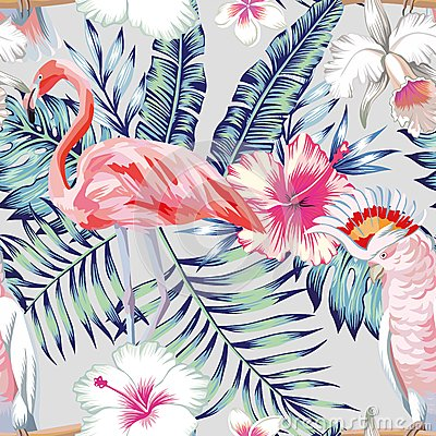 Free Orchid Hibiscus Flamingo Parrot Pattern Light Stock Photos - 82727023