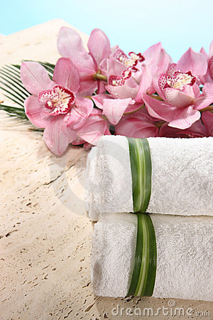 Orchid and Towel in Spa Display