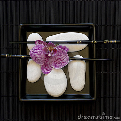 Orchid and white pebble