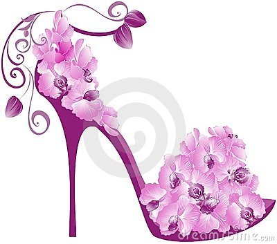 Orchids high heel. Vector