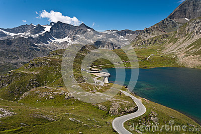 Orco valley - Agnel lake and road over dam