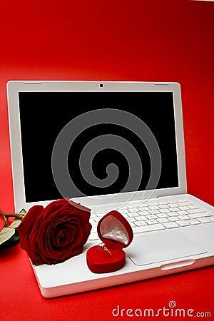 Ordenador, rojo color de rosa, anillo