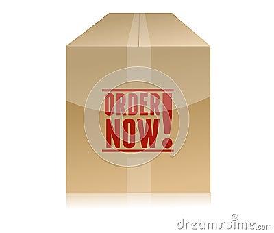 Order now cardboard box illustration