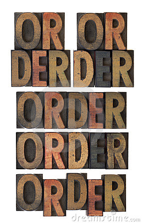 Order word in vintage wood type