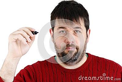 Ordinary guy with pen ready