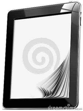 Ordinateur de tablette avec des pages