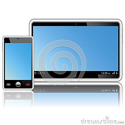 ordinateur et t l phone portable de tablette image stock image 23391321. Black Bedroom Furniture Sets. Home Design Ideas