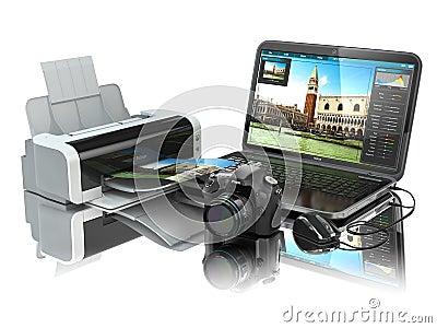 Ordinateur portable appareil photo de photo et imprimante for Meuble pour ordinateur portable et imprimante