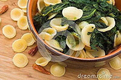 Orecchiette with turnip tops.