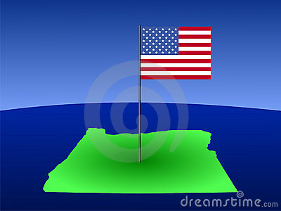 Oregon with Flag