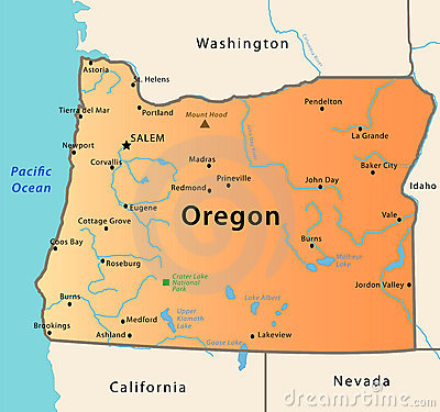 Oregon Map Stock Images Image 9637014
