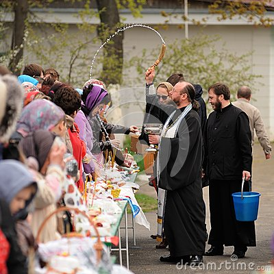Free Orel, Russia - April 30, 2016: Paschal Blessing Of Easter Basket Royalty Free Stock Photo - 70791835