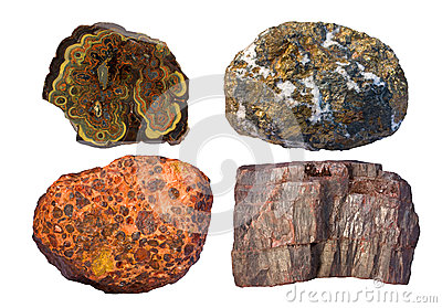 Ores of zinc and lead (upper left), copper (upper