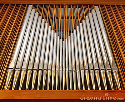 Organ pipes in music hall (church)