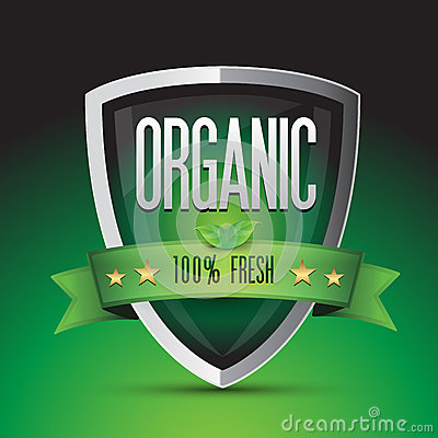 Organic 100 percent fresh on green shield