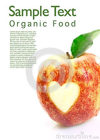 Free Organic Apple With Heart Cutout Stock Images - 26019984