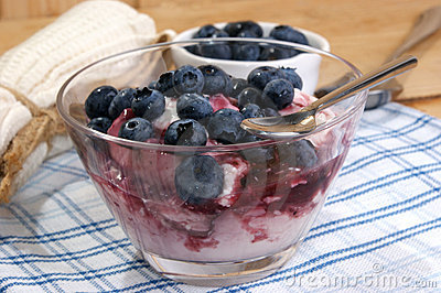 organic blueberries and yoghurt in a glass