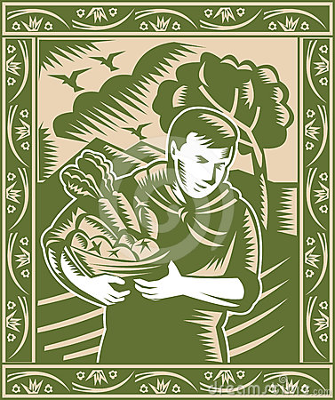 Organic Farmer With Basket Harvest Crops Retro Royalty Free Stock Photos - Image: 24511508