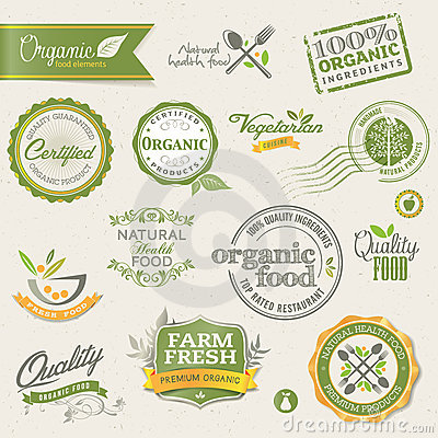 Free Organic Food Labels And Elements Royalty Free Stock Photo - 24241665