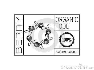 Organic food. Logo, badge, label for healthy eating, berry icon Vector Illustration