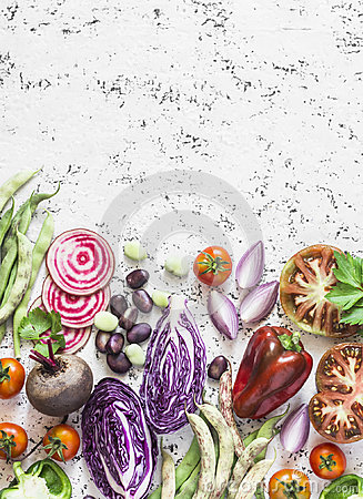 Free Organic Fresh Vegetables Background. Cabbage, Beets, Beans, Tomatoes, Peppers On A Light Background, Top View. Royalty Free Stock Photography - 98057567