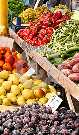 Organic Fruits and Vegetables At A Street Market