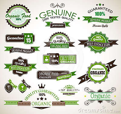 Organic and Genuine product premium labels.