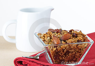Organic Granola In Glass Bowl