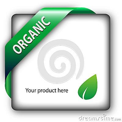 Organic green shiny corner ribbon