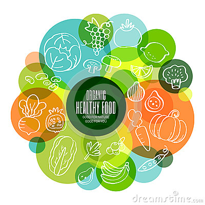 Free Organic Healthy Fruits And Vegetables Conceptual Illustration Stock Images - 57760294
