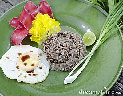 Organic jasmine rice whit fried egg.
