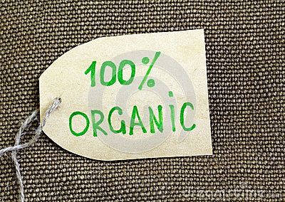 Organic label on the  burlap background