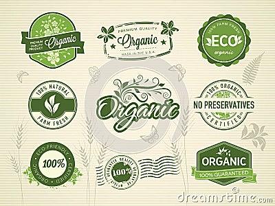 Organic labels Vector Illustration