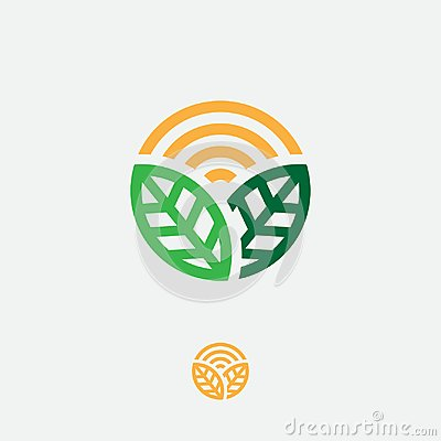 Organic logo. Farmer products emblem. Leaves and sun in a circle. Vector Illustration