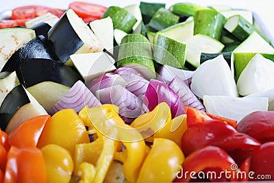 Organic peppers eggplant onions & zucchini