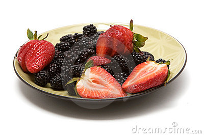 Organic strawberries and blackberries