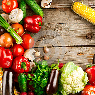Free Organic Vegetables On A Wood Background Stock Photo - 26733620