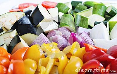 Organic vegetables ready to roast