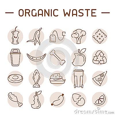 Free Organic Waste Icons Set Royalty Free Stock Images - 130125729