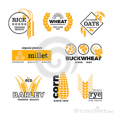 Free Organic Wheat Grain Farming Agriculture Vector Logo Set Stock Images - 81888934