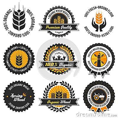 Free Organic Wheat Label Set Royalty Free Stock Photography - 38309517