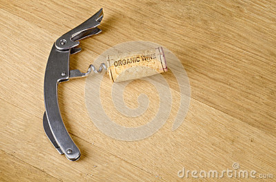 Organic Wine Cork on a Corkscrew