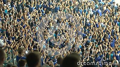 Organisierte Gruppe Fußballfane, die Hände, jubelnd für Nationalmannschaft klatschen zu stock video