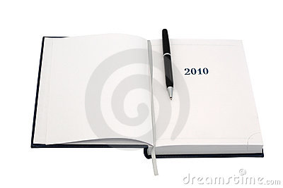 Organizer for 2010. With black pen.